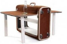 suitcase shaped folding table design
