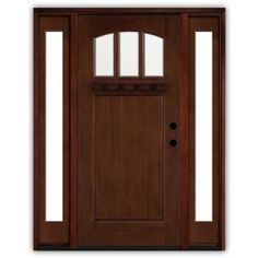 Steves & Sons Craftsman 3 Lite Arch Stained Mahogany Wood Left-Hand Entry Door with 14 in. Sidelites and 4 in. Wall-M4151-14-HY-4LH at The Home Depot