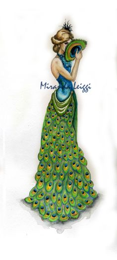Trendy Fashion Design Sketches Skirt Watercolors Ideas by Peacock Costume, Peacock Dress, Peacock Art, Peacock Theme, Peacock Design, Watercolor Peacock, Peacock Feathers, Peacock Room, Peacock Wedding