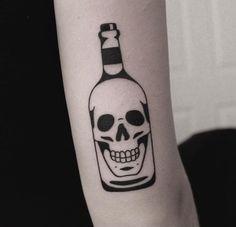 Awesome skull in the bottle Leg Tattoo Men, Arm Tattoos For Guys, Future Tattoos, Leg Tattoos, Body Art Tattoos, Sleeve Tattoos, Mini Tattoos, Rose Tattoos, Gotik Tattoo