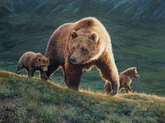 Momma bear and cubs. Bonnie Marris - Her Power And Her Glory Animals And Pets, Baby Animals, Cute Animals, Wild Animals, Spirit Bear, Spirit Animal, Merida, Bear Paintings, Original Paintings