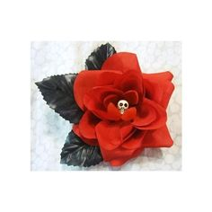 Red Skull Rose Hair Flower Clip Gothic Torture by MissTorture ($8) via Polyvore
