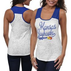 Kansas Jayhawks Ladies Burnout Raglan Tank Top - White