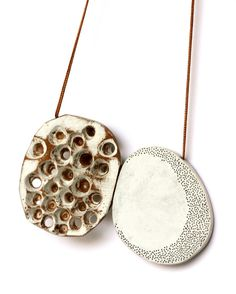 Auba Pont, pendant, wood, silver, paint, silk thread