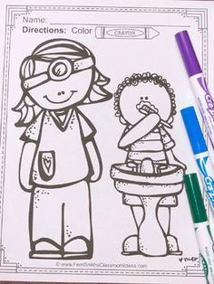 Dental Health Fun Coloring Pages - 20 Pages of Dental Health Coloring Fun Health Activities, Fun Activities, Cool Coloring Pages, Coloring Books, Dental Health Month, Parent Volunteers, Second Grade Teacher, Preschool Themes, Printable Coloring