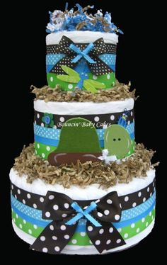 Turtle Pond Diaper Cake Centerpiece - could do something like this with burlap and ribbon to match decor, the colors are great