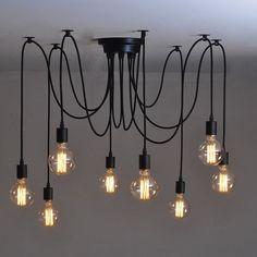 Vintage Industrial Adjusted DIY Ceiling Lamp Glass Pendant Lighting chandelier in Home, Furniture & DIY, Lighting, Ceiling Lights & Chandeliers | eBay