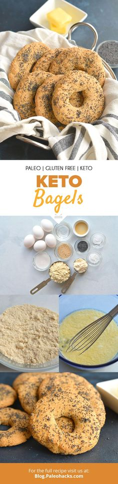 Missing bagels for breakfast? Try these gluten-free Keto Bagels made with wholesome ingredients and tons of healthy fats. Healthy Low Carb Recipes, Ketogenic Recipes, Healthy Foods To Eat, Healthy Fats, Paleo Recipes, Eating Healthy, Bread Recipes, Keto Bagels, Sin Gluten