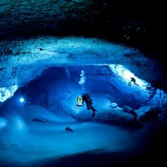 Underwater cave diving.