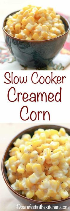 Slow-Cooker Creamed Corn - just like Rudy's BBQ! get the recipe at barefeetinthekitchen.com Slow Cooker Creamed Corn, Creamed Corn Recipes, Crock Pot Slow Cooker, Slow Cooker Recipes, Crockpot Recipes, Cooking Recipes, Crockpot Dishes, Cabbage Recipes, Copycat Recipes