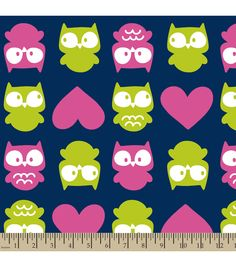 Anti-Pill Fleece Fabric- Navy Owl Love