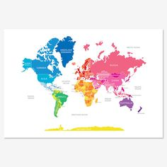 Bright World Map by englishmuffinshop on Etsy, $30.00. Perfect addition to the travel section of the house which also dubs as play area.