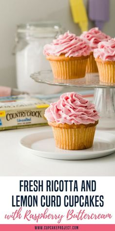 Taste the beautiful sunshine of springtime with these Fresh Ricotta and Lemon Curd Cupcakes with Raspberry Buttercream! You'll get a nice soft and creamy texture with the new Country Crock Buttery Sticks added to the recipe. The cupcakes taste fabulous –