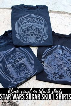 Star Wars Sugar Skull Shirts with Cricut! The best combination is Star Wars and Halloween! Make an amazing shirt for any day of the week featuring these fun Sugar Skull designs from Cricut. These shirts look extra amazing because I used black iron-on vinyl on black shirts. They are subtle but stand-out!