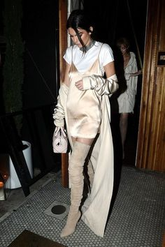 neutral / beige / tan over the knee boots outfit all for under $100   kendall jenner