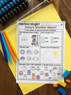 What's the weather? What's the weather? What's the weather like today? Is it rainy? Is it snowy? Is it sunny out today? This weather and seasons bundle has it ALL! There are science experiments, daily weather reports, fluency passages, phonics activities, math activities, vocabulary development, writing prompts, and much much more. This bundle includes everything you need to have a thematic unit on the weather and seasons. Let your students become meteorologists! Second Grade Teacher, First Grade Classroom, Kindergarten Classroom, Kindergarten Activities, Vocabulary Activities, Science Activities, Science Experiments, Weather Like Today, Daily Weather