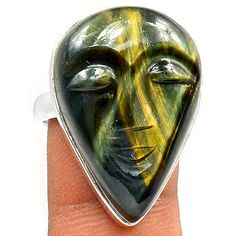 Face Carved Pietersite 925 Sterling Silver Ring Jewelry s 8 5 SR109188 | eBay