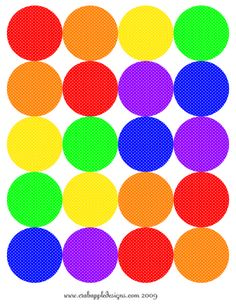 At Home With Crab Apple Designs: Today's Freebie: Rainbow Polka Dotted Polka Dots
