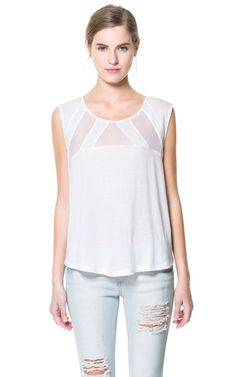 T - SHIRT WITH TRANSPARENT NECKLINE - T - shirts - Woman | ZARA United States