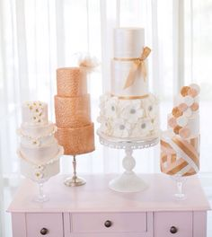 Luxe wedding inspiration.. Who says you can only have one cake?