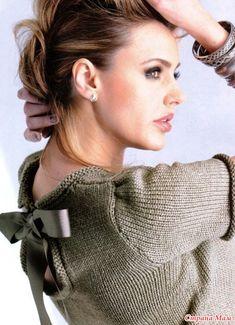 Пуловер с атласным бантом Вам потребуется: 250-300-300-350-400 г серо-зеленой пряжи SMC select Silk Wool(64% овечьей шерсти.