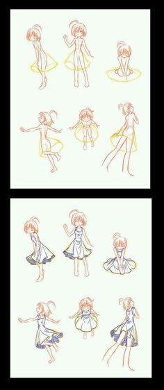 I like how this shows the diffrent placements of angles to the body as a dress would fall down too  ~ Anime how to draw ~