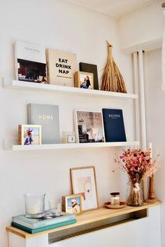 Scandinavian Inspired Simple Chic Paris Home Tour Orange Pillow Covers, Orange Pillows, Pink Pillows, Ikea White Shelves, White Shelving Unit, Paris Home, Ikea Storage, H&m Home, White Dishes