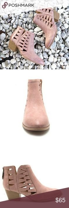 """NWT Blush cutout ankle booties BLUSH COLOR These stunning closed toed booties feature stunning angular cutouts and an oil brushed leather finish.  The low heel makes these perfect for all day wear!Blush Faux Leather  Fits True To Size  2.5"""" Heel Shoes Ankle Boots & Booties"""
