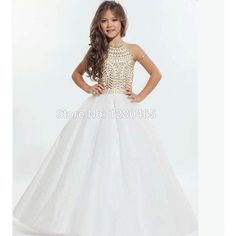 Shining Ivory with Gold Crystals Girls Pageant Dresses Flower Girl... ❤ liked on Polyvore featuring wedding
