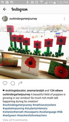 Snap Cube poppies - Math Math Is Everywhere, Math Talk, Kindergarten Math Activities, Remembrance Day, Eyfs, Future Classroom, Cubes, Poppy, November