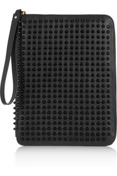 CHRISTIAN LOUBOUTIN, CRIS SPIKED LEATHER IPAD CASE: red lining on the inside, of course.