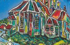 Kerkje te Auvers à la Vincent van Gogh Acryl op doek afm. 18 x 28 cm