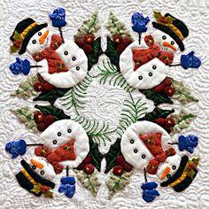 Applique de Noël bonhomme de neige bloc de couette par Miriam L Meier