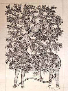 Gond Art from Madhya Pradesh by The India Craft House India Crafts, Home Crafts, Arts And Crafts, Gond Painting, Silk Painting, Puppetry Arts, Pichwai Paintings, Craft House, Madhubani Art