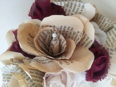 Wedding Bouquet and Boutonierre / Buttonhole. Vintage Book Page Paper Roses with Deep Red Fabric Flowers.