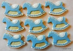 Hand Decorated Rocking Horse Sugar Cookies - Party Favor for baby showers