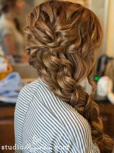 Chunky side braid wedding hair