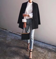 Love the blazer and jeans with heels look.  Need a laser that is thigh length to cover my bum!