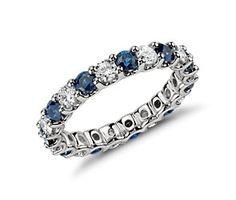 U-Prong Eternity Sapphire and Diamond Ring in Platinum (1 ct. tw.) #BlueNile