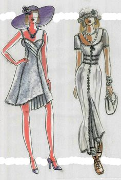 These are sketches of two outfits of the collection. The sundress with spaghetti straps with asymmetrical pleated hemline and center of the top.  Another dress is long, fully lined made from gray wool with zipper's front closure. Both dresses are embellished with high-quality trims. After the fashion show, the dresses were sold to a customer who got amazing compliments from her coworkers and public attention.