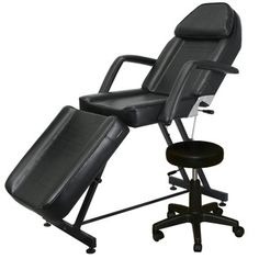 Salon CA -Black Facial Massage Esthetician Bed with Stool FB-40BLK-X
