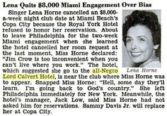 Jim Crow - Lena Horne cancels (Florida)