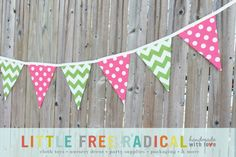 Pink Dot and Green  Chevron Fabric Pennant Bunting Banner - great for birthday party decor, nursery, playroom, photo prop