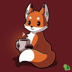 Bright-eyed and bushy-tailed. Get the red Coffee Fox t-shirt only at TeeTurtle! Cute Fox Drawing, Cute Animal Drawings, Kawaii Drawings, Cute Drawings, Anime Animals, Cute Animals, Bebe Anime, Cute Animal Quotes, Fox Pictures