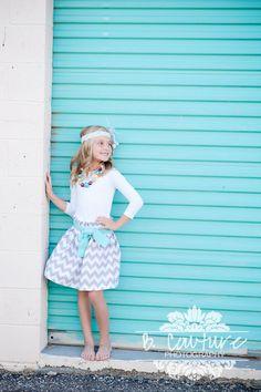 Colors for family pics.....add pops of yellow!  Kenzie Skirt - Grey and White Chevron High Waist Paper Bag Skirt. $25.00, via Etsy.