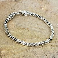 Men's sterling silver bracelet, 'Strength'