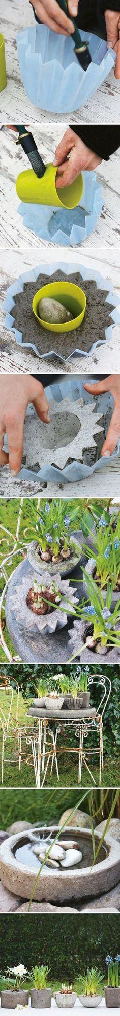 DIY garden decoration ideas concrete flower pots planters