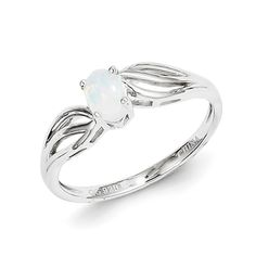 Rhodium plated sterling silver ring features oval created opal and cut out shank.