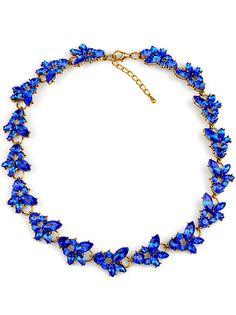 Blue Gemstone Gold Chain Necklace - Sheinside.com