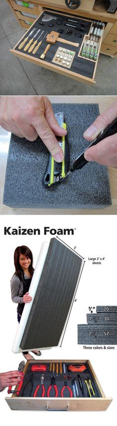 Kaizen Foam is another great product designed to help you achieve maximum organization and visual control in your workspace! Kaizen Foam separates between the layers creating a perfect fit for all you Workshop Storage, Workshop Organization, Garage Organization, Tool Storage, Garage Storage, Workshop Ideas, Storage Cart, Lumber Storage, Storage Drawers